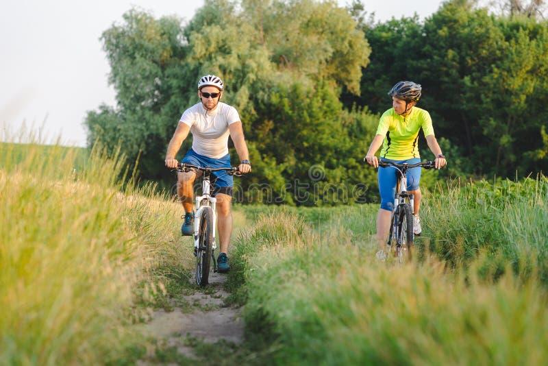 Junge Männer und Frauen fahren im Sommer Fahrräder zwischen Feldern stockfoto