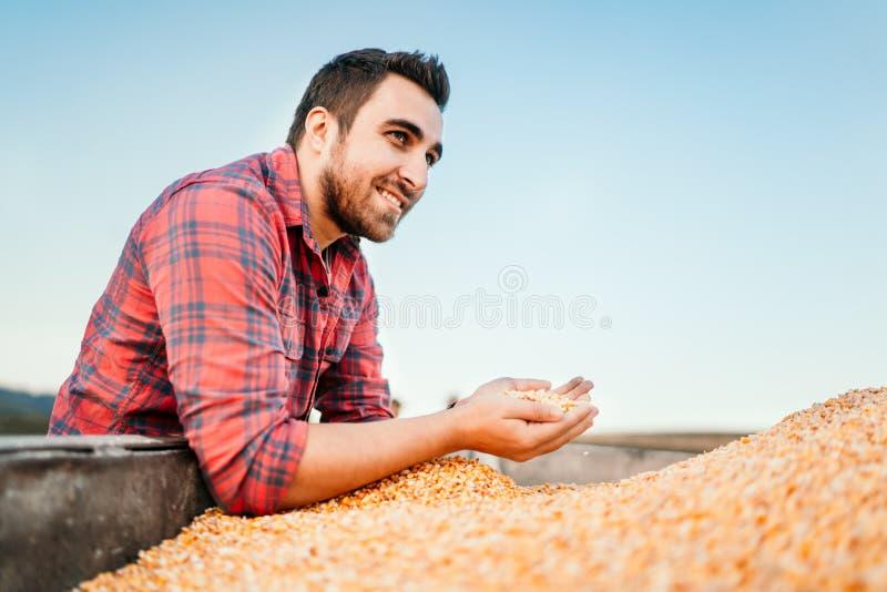 Junge männliche Arbeitskraft, junger Landwirt auf Ackerland lächelnd und Mais bei Sonnenuntergang halten stockfoto