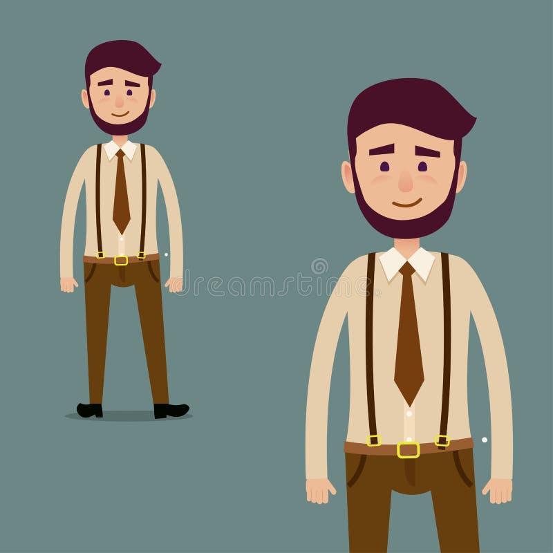 Junge männliche bärtige Zeichentrickfilm-Figur-Illustration vektor abbildung