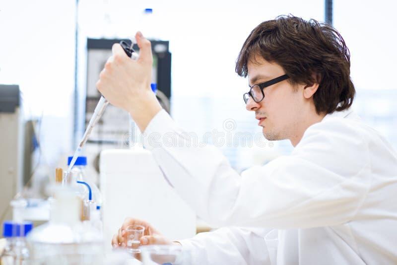 Junge, männlicher Forscher/Chemiekursteilnehmer lizenzfreies stockfoto
