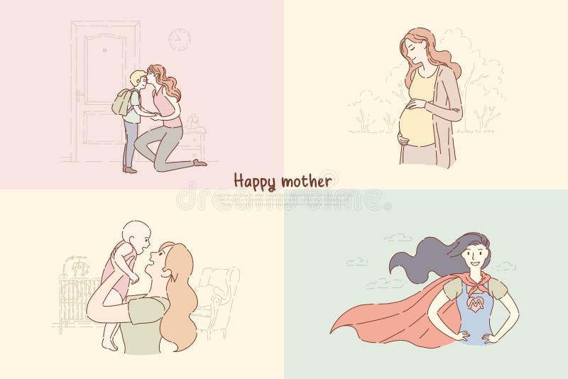 Junge Mütter mit Kindern, Mutter Sohn zur Schule, Frau schicken, die mit Kleinkind, glückliche Mutterschaftsfahne spielt vektor abbildung
