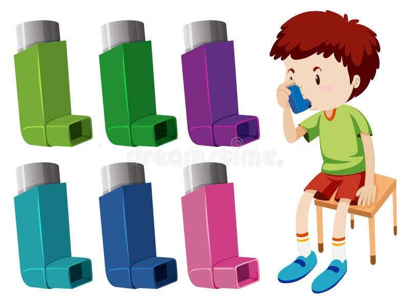 Junge mit Asthma mit verschiedenen Asthmainhalatoren vektor abbildung