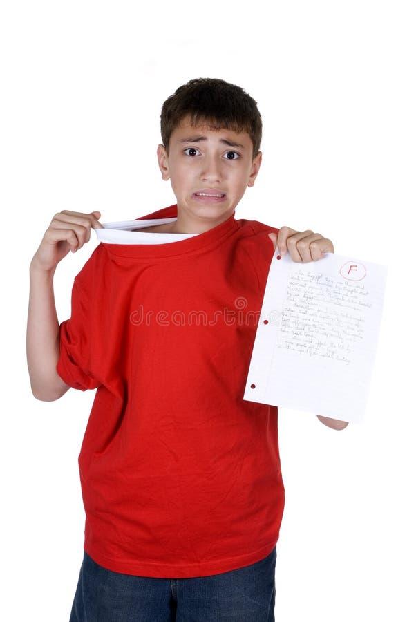 Junge mit ausfallen Grad stockfoto