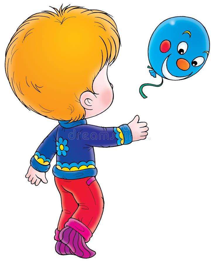 Junge mit blauem Ballon lizenzfreie abbildung
