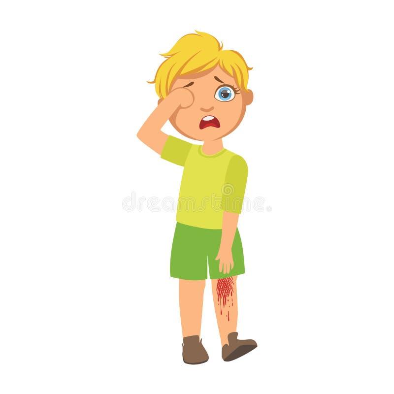 Junge mit Bluten verkratztem Knie, krankes Kind, das wegen der Krankheit unwohl sich fühlen, Teil Kinder und Gesundheitsprobleme stock abbildung