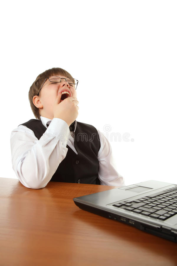 Junge mit Computer stockbilder