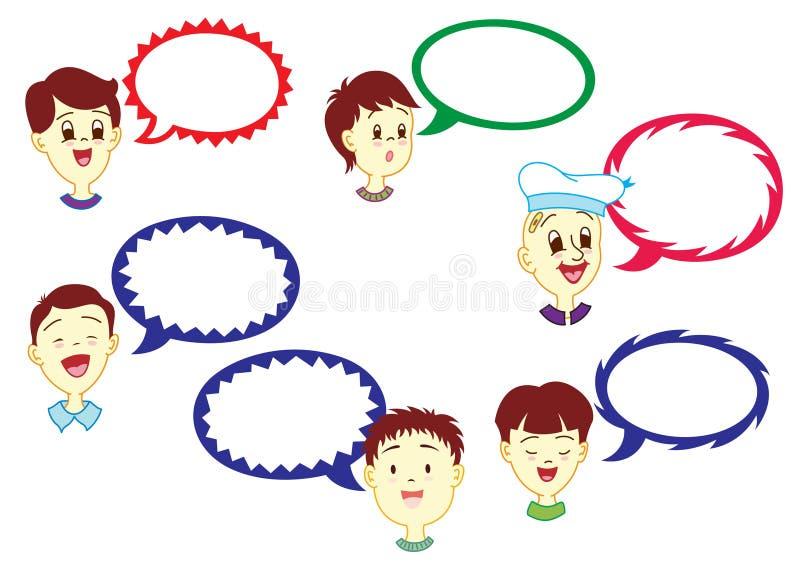 Junge mit Dialog-Ballon stock abbildung