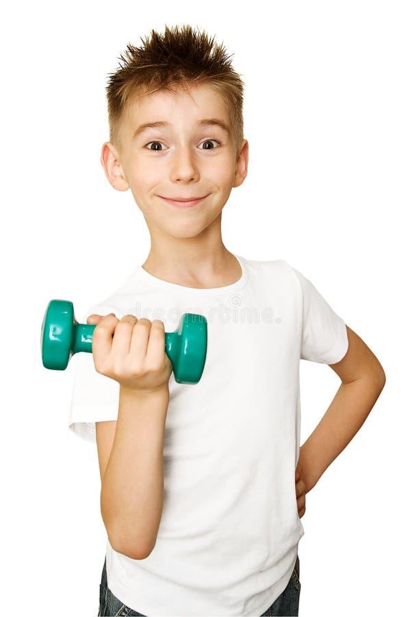 Junge mit Dumbbell stockfotos
