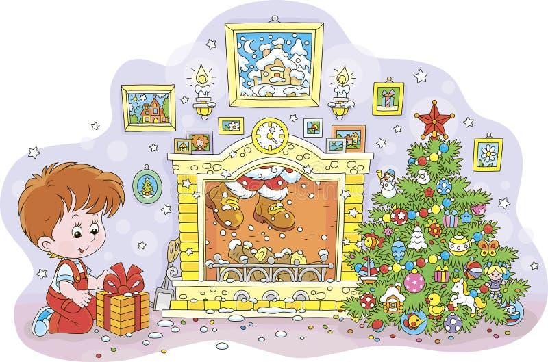 Junge mit einem Geschenk und Sankt in einem Kamin stock abbildung