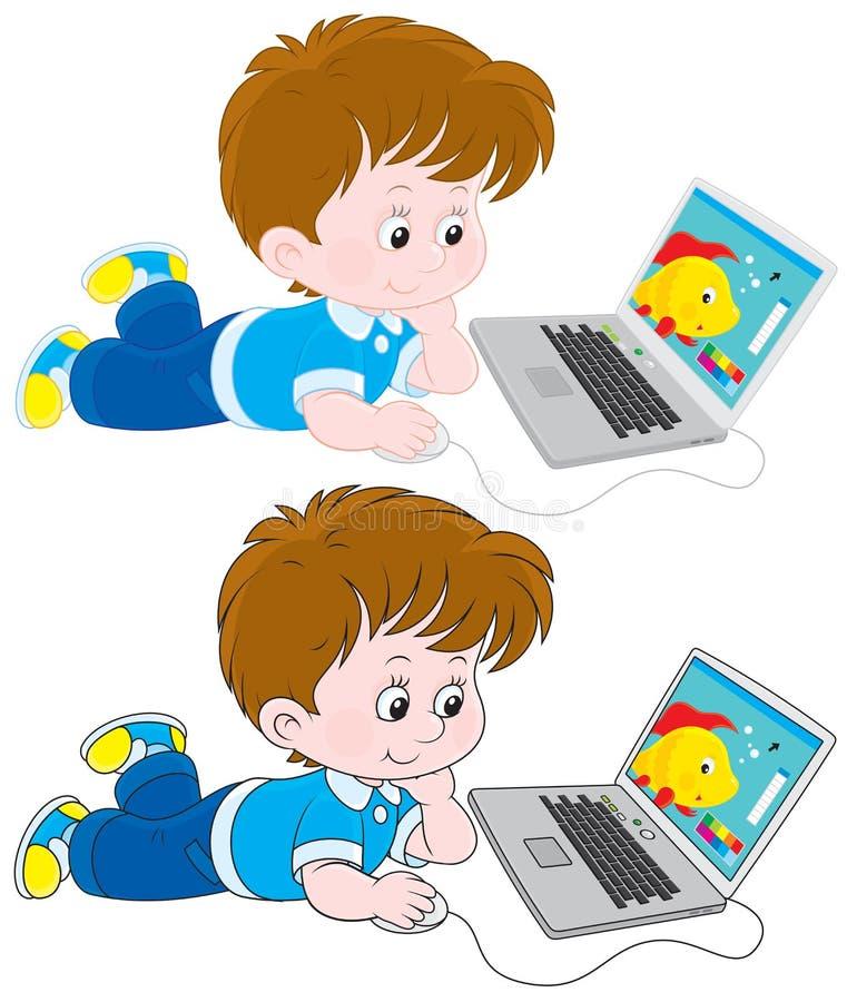 Junge mit einem Laptop lizenzfreie abbildung