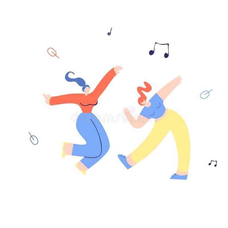 Junge mit einer Keule schlagende Tänzerin-flache Illustration lizenzfreie abbildung