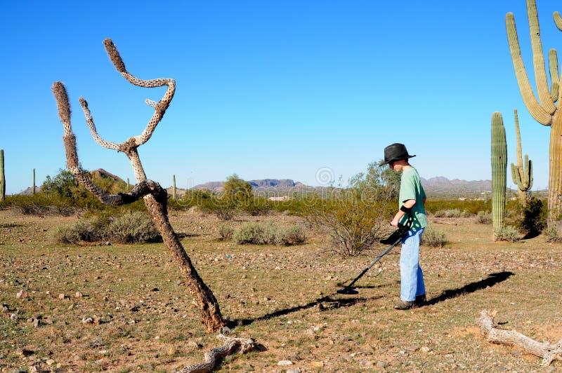 Junge mit einer Metalldetektor-Schatzjagd stockfotos