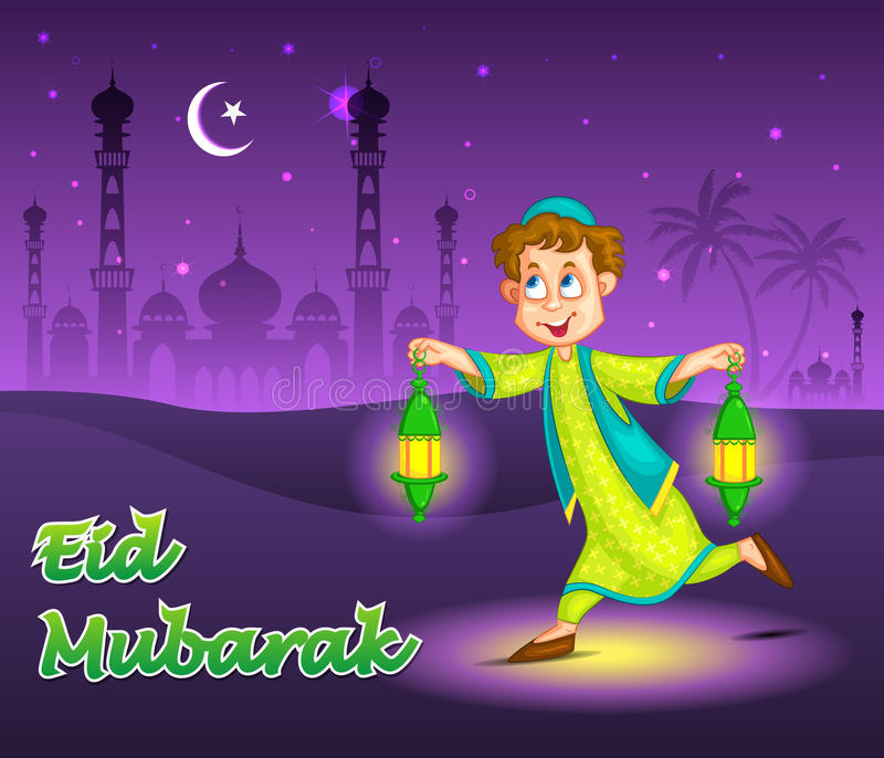 Junge mit fanoos Eid feiernd lizenzfreie abbildung