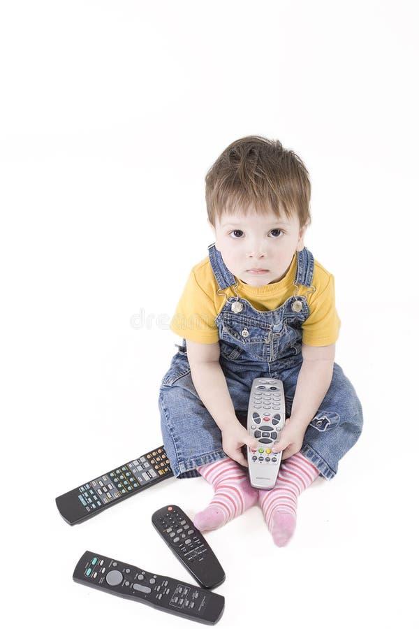 Junge mit Fernsteuerungs stockbilder