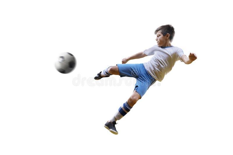 Junge mit Fußball, Fußballspieler auf dem weißen Hintergrund Getrennt stockfotografie