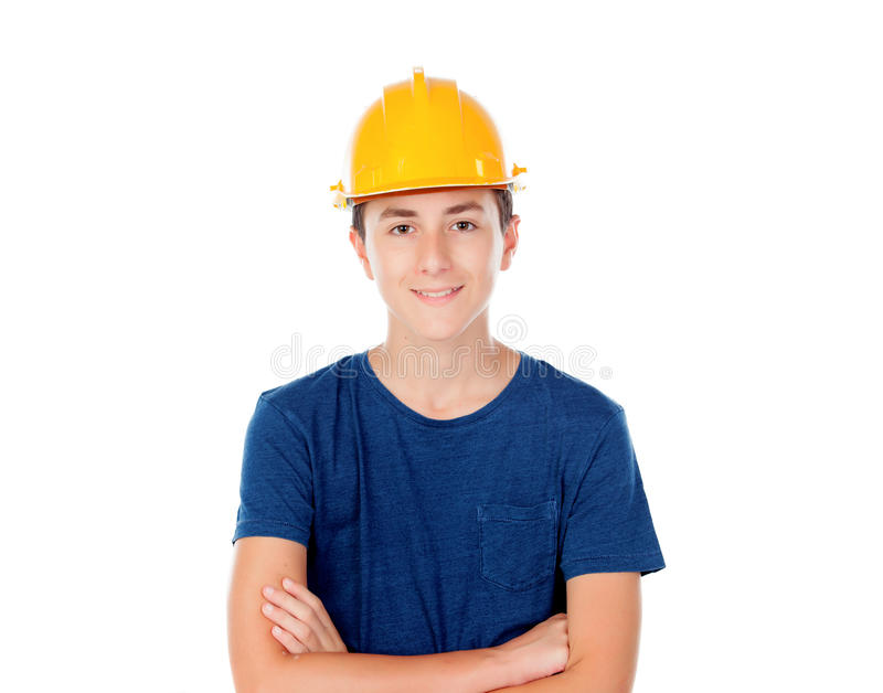 Junge mit gelbem Sturzhelm Ein zukünftiger Architekt lizenzfreies stockbild