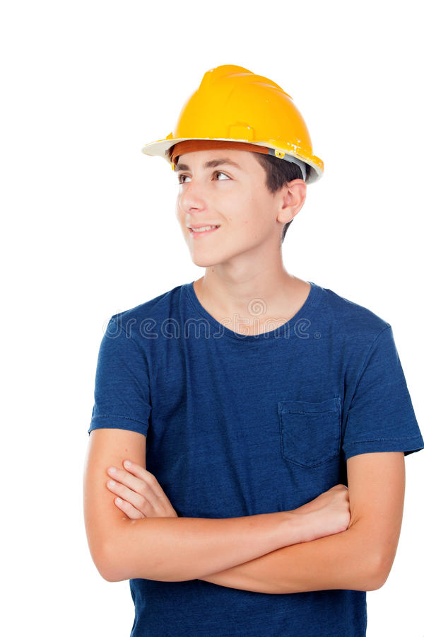 Junge mit gelbem Sturzhelm Ein zukünftiger Architekt stockfotografie