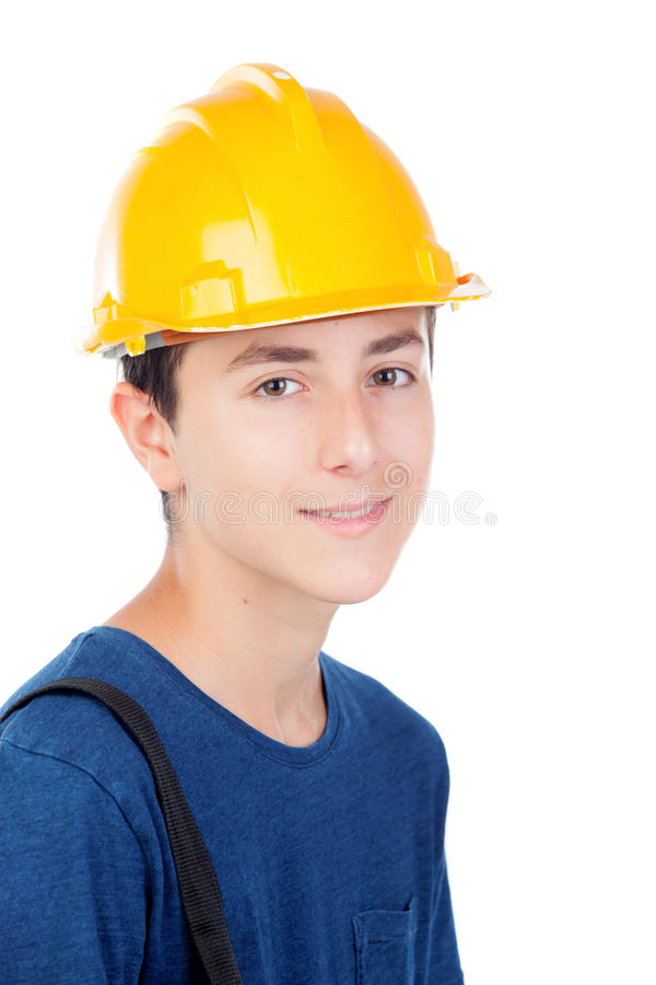 Junge mit gelbem Sturzhelm Ein zukünftiger Architekt stockbilder
