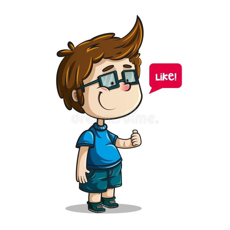 Junge mit Gläsern und dem Daumen oben vektor abbildung