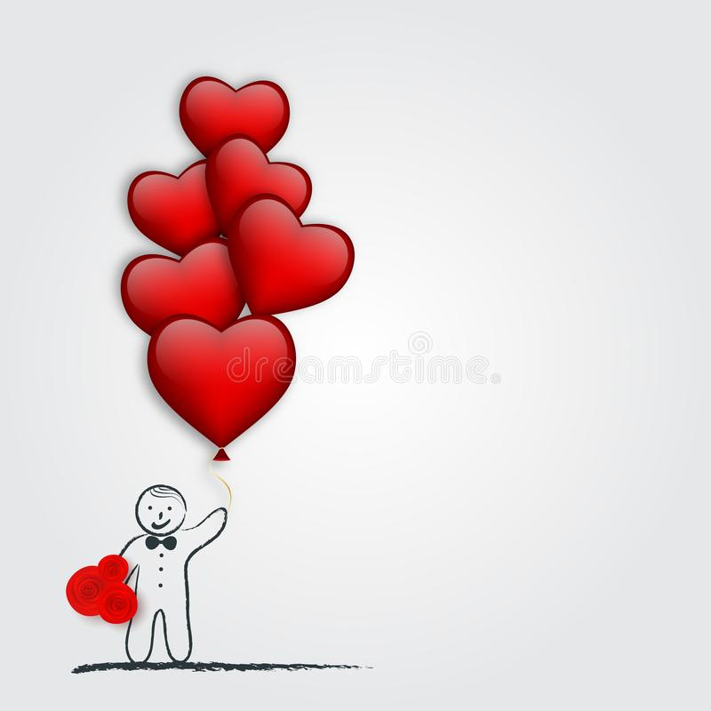 Junge mit Herzen formte Ballon und Blumenstrauß Stilisiert grünes Inneres der vektorabbildung Auch im corel abgehobenen Betrag lizenzfreie abbildung