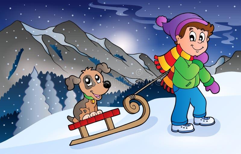 Junge mit Hund auf Schlitten im Winter stock abbildung