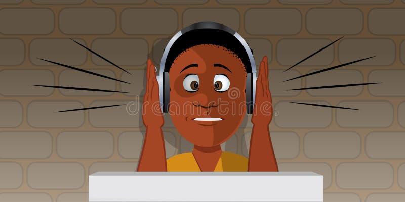 Junge mit lauten Kopfhörern stock abbildung