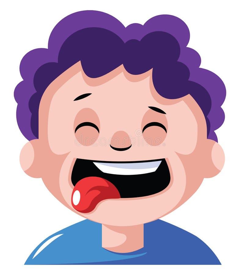 Junge mit lockig violetten Haaren sehnen sich nach einem Bildvektor lizenzfreie abbildung