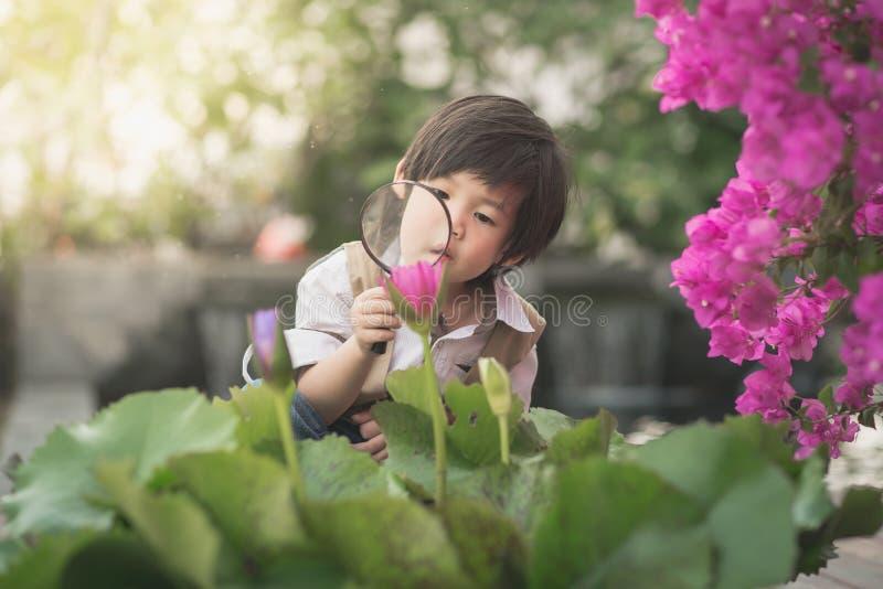 Junge mit Lupe draußen lizenzfreie stockfotos