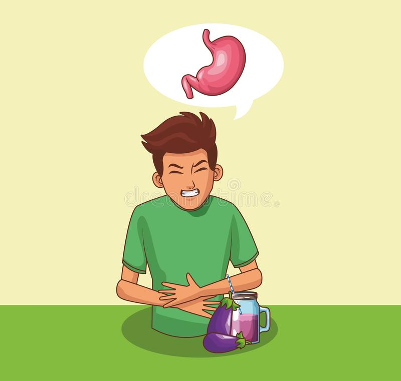 Junge mit Magenschmerzen lizenzfreie abbildung