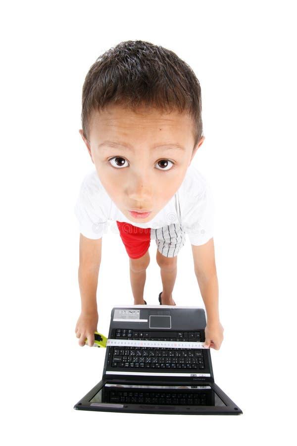 Junge mit PC stockbilder