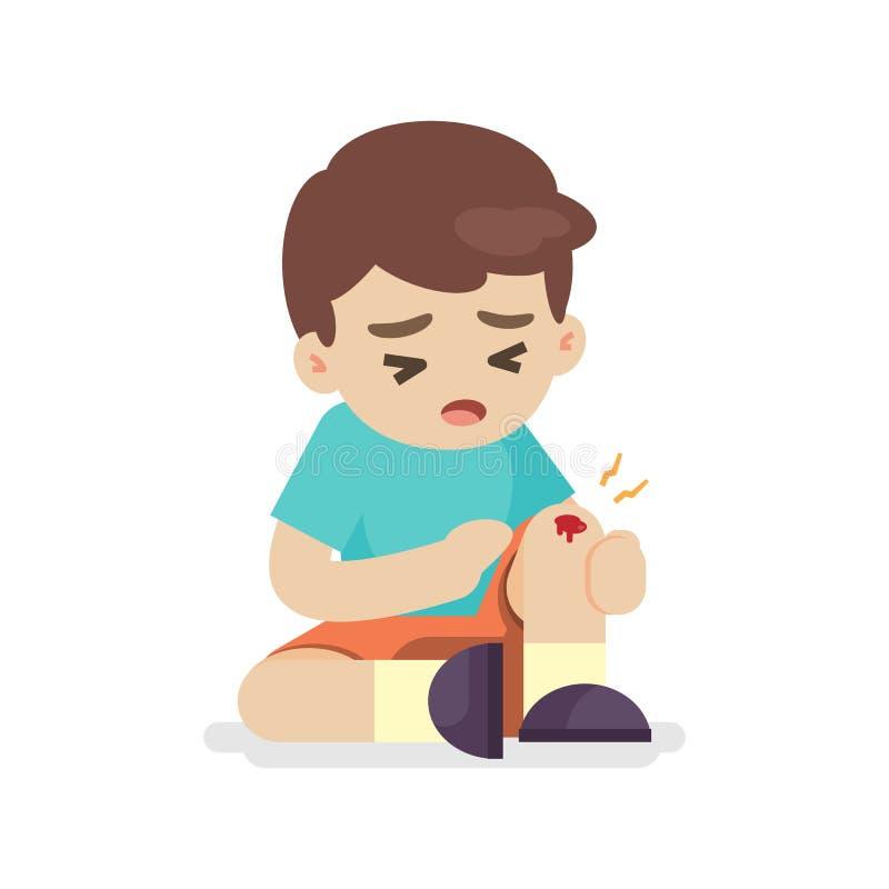 Junge mit Quetschungen auf seinem Bein, Knieschmerz, Vektorillustration lizenzfreie abbildung