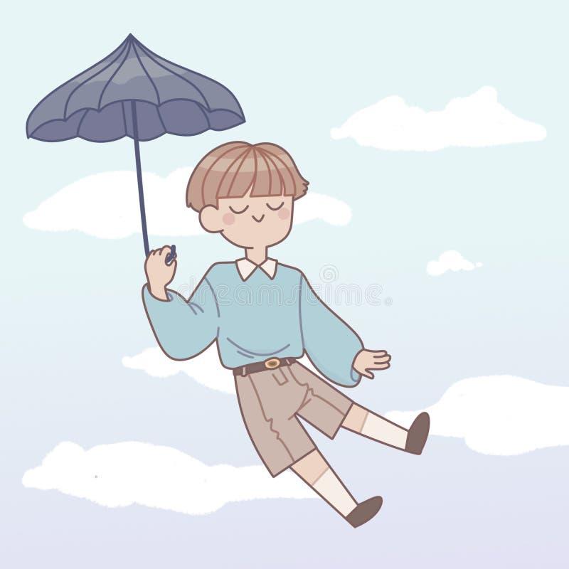 Junge mit Regenschirm im Himmel stock abbildung