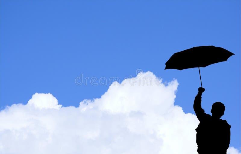 Junge mit Regenschirm (mit clipp lizenzfreies stockfoto