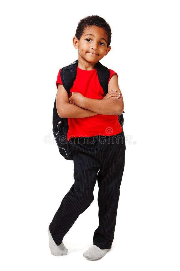 Junge mit Rucksack stockbilder
