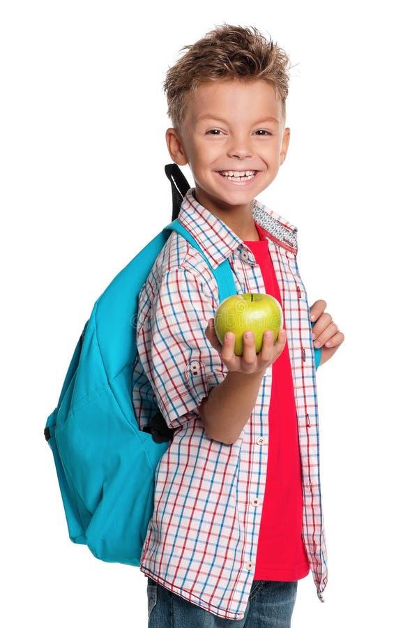 Junge mit Rucksack lizenzfreie stockbilder