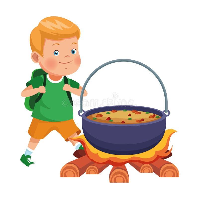 Junge mit Rucksackwartesuppe im Feuer lizenzfreie abbildung