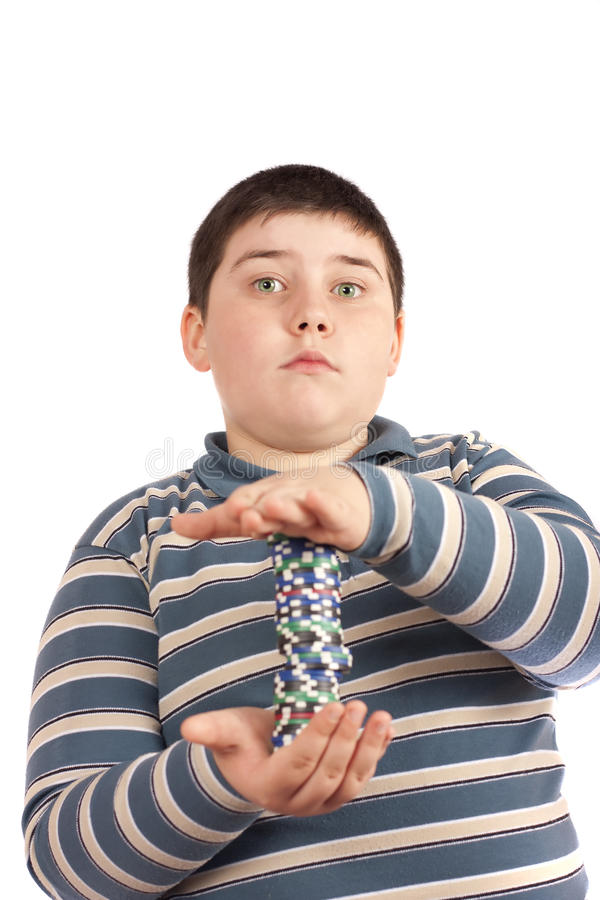 Junge mit Schürhakenchips lizenzfreie stockbilder