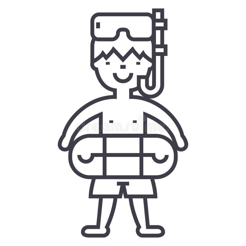 Junge mit Schwimmenmaske und Kreis, Swimmingpool-Vektorlinie Ikone, Zeichen, Illustration auf Hintergrund, editable Anschläge vektor abbildung