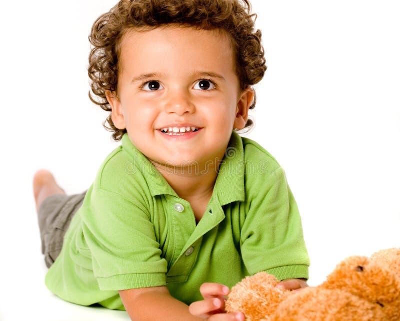 Junge mit Teddybären stockbilder
