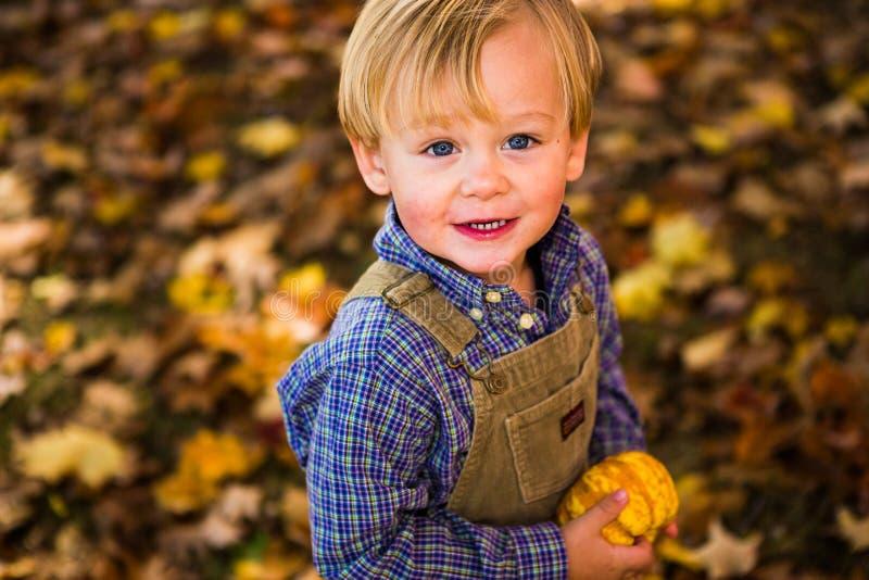 Junge mit zwei Jährigen, der einen Gurde in Neu-England Fall hält stockbild