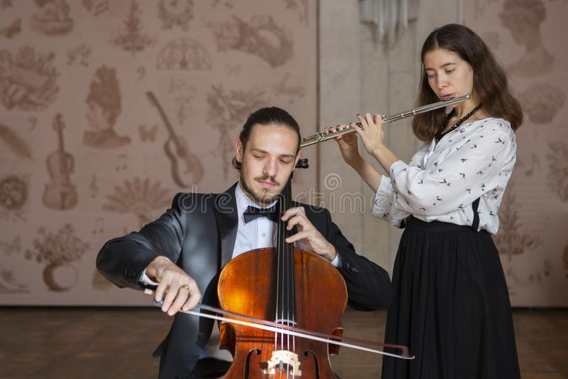 Junge Musiker des Sinfonieorchester Duos lizenzfreies stockbild