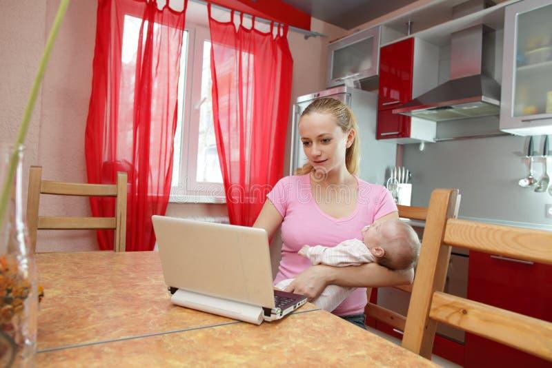 Junge Mutter auf Küche mit dem Laptop lizenzfreie stockfotos