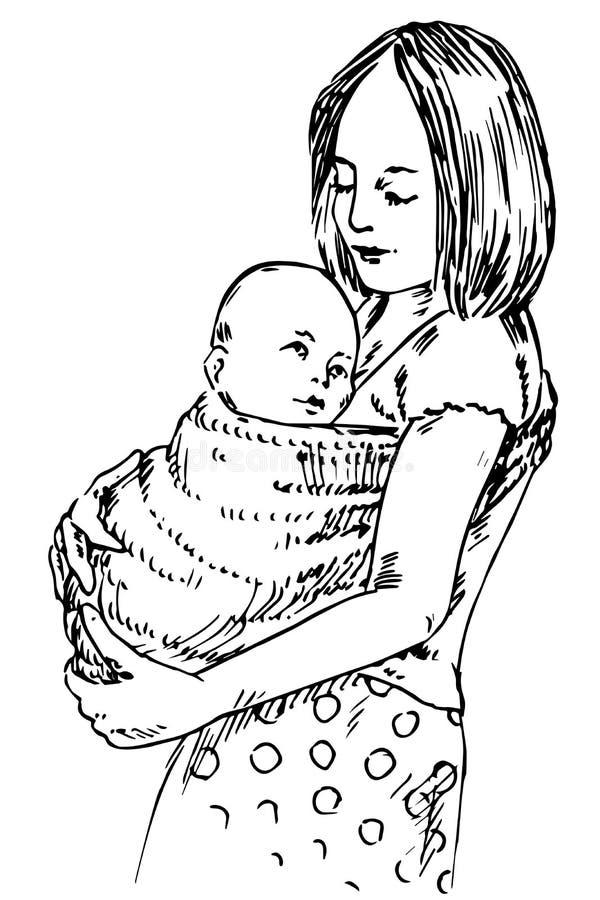 Junge Mutter, die ihr Kind auf Händen im Riemen hält stock abbildung