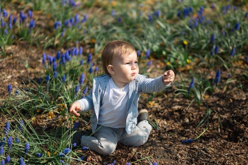 Junge Mutter, die im Fr?hjahr mit einem Babysohn auf einer Muscarifeld spielt und spricht - sonniger Tag - Traubenhyazinthe - Rig lizenzfreie stockbilder