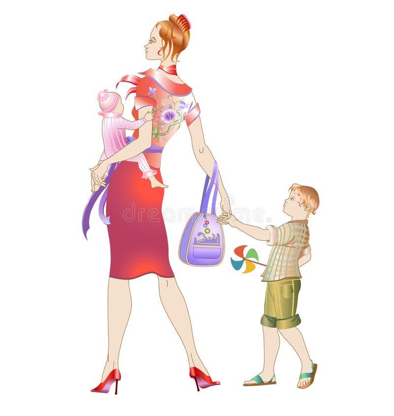 Junge Mutter, die mit ihren Kindern geht lizenzfreie abbildung