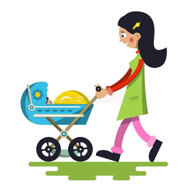 Junge Mutter mit Baby auf Pram lizenzfreie abbildung