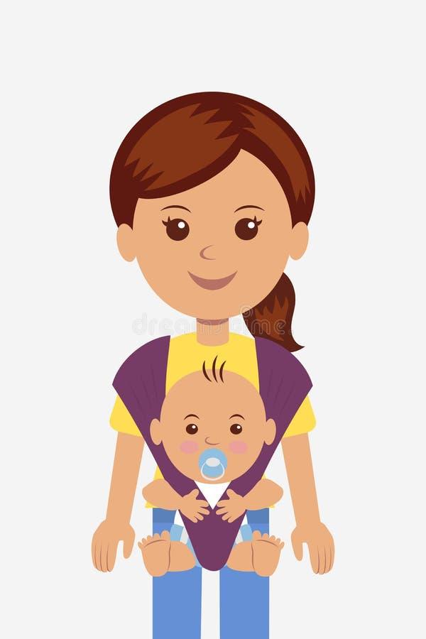 Junge Mutter mit ihrem Baby in einem Riemen lizenzfreie abbildung