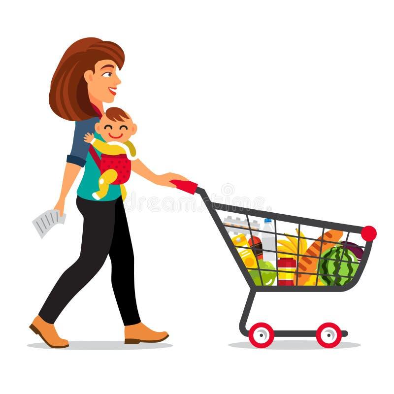 Junge Mutter mit Sohnbaby lizenzfreie abbildung