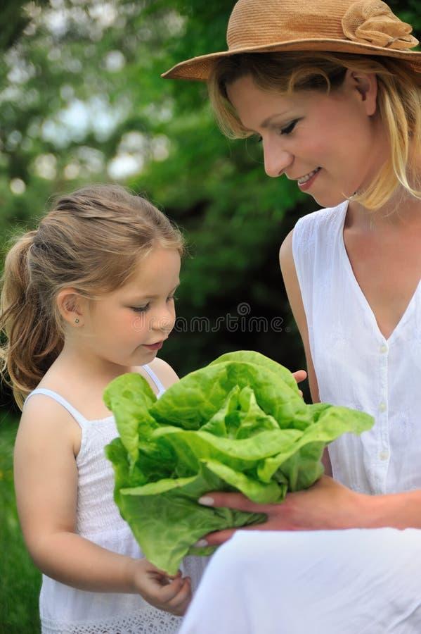 Junge Mutter und Tochter mit Kopfsalat lizenzfreie stockfotografie
