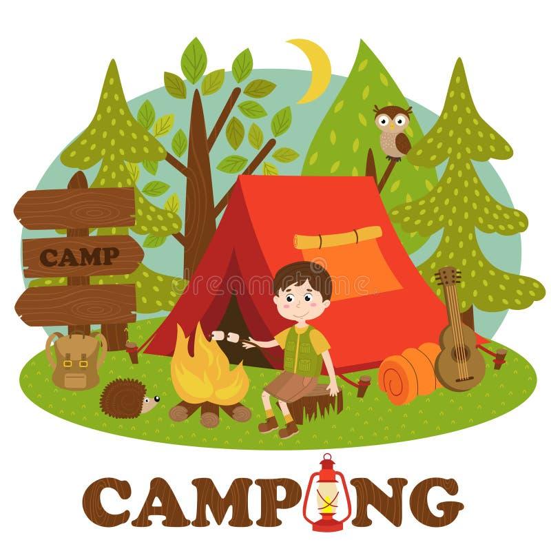Junge nahe Feuer im Sommerlager lizenzfreie abbildung